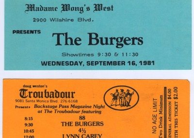 The Burgers Tickets