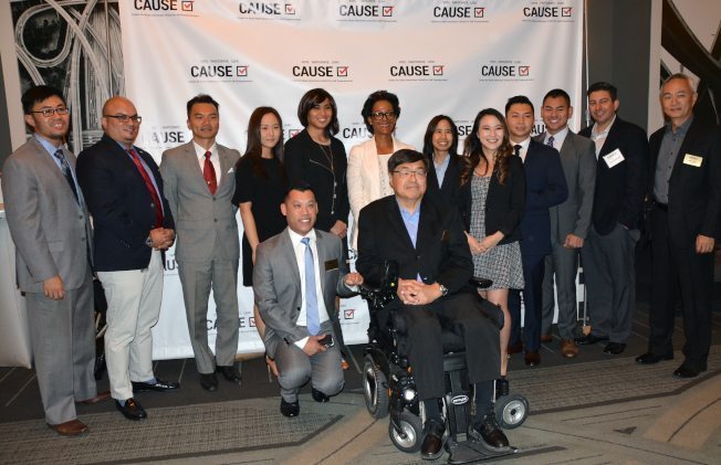 2017 Veterans Initiative fellows, Renata Simril, Steven Ly, Blas Villalobos, and CAUSE