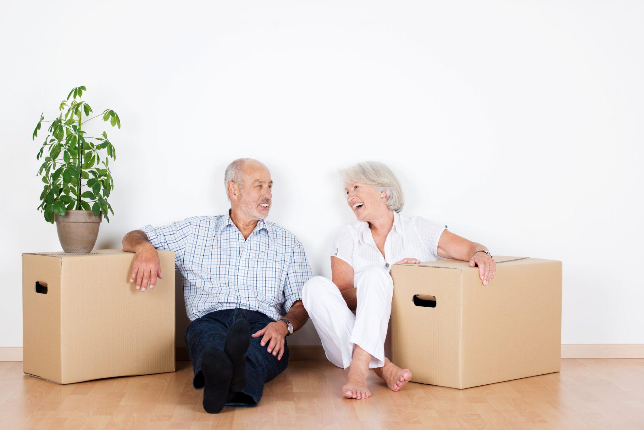 Senior couple downsizing needs storage unit