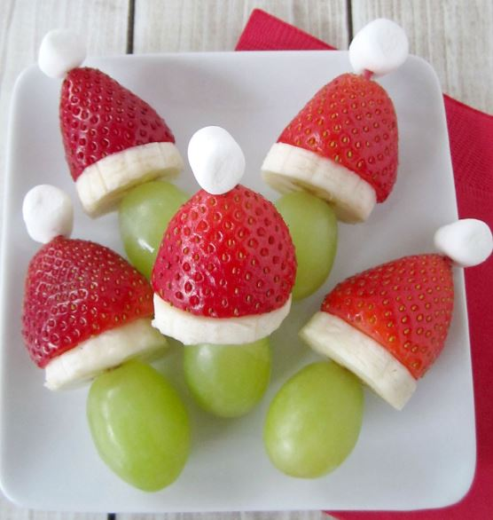 Santa hat fruit kabobs