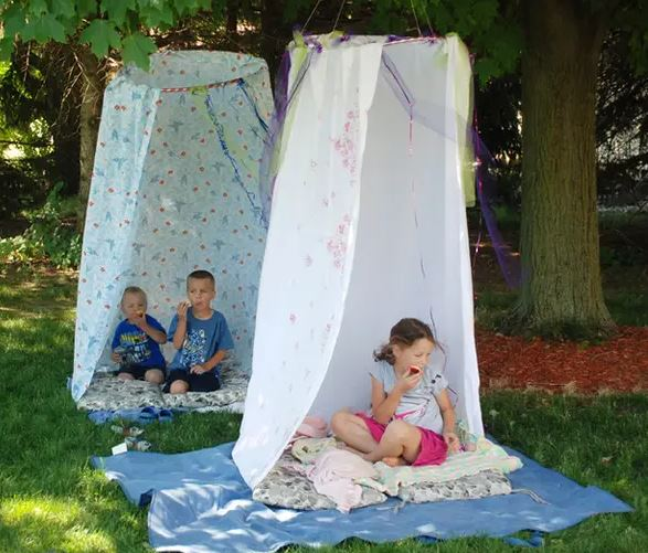 Backyard hula hoop tent