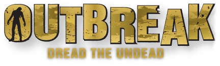 Outbreak Dread the Undead logo - Two locations in Myrtle Beach, SC and Pigeon Forge, TN